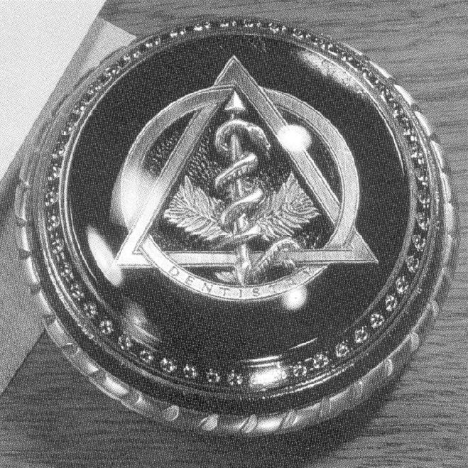 Pewter Dental Symbol / velvet