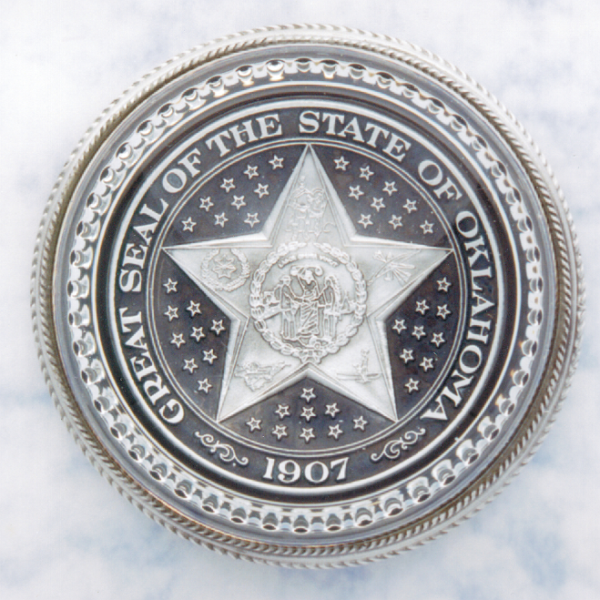 THE GREAT SEAL OF OKLAHOMA PAPERWEIGHT - Click Image to Close
