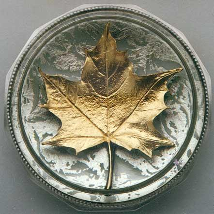 THE GOLD MAPLE LEAF PAPERWEIGHT